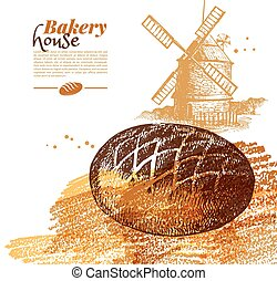 Bakery sketch background. Vintage hand drawn vector illustration