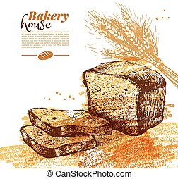 Bakery sketch background. Vintage hand drawn vector ...