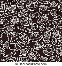 Bakery Sketch Pattern On Chalkboard