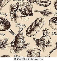 Bakery sketch seamless pattern. Vintage hand drawn illustration