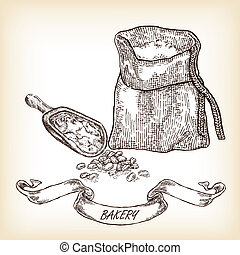 Bakery sketch.Hand drawn illustration of sack, grain, meal