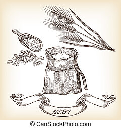Bakery sketch.Hand drawn illustration of sack, grain, meal, whea