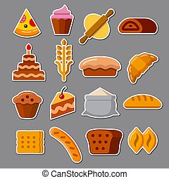 illustration of the bakery and bread color stickers