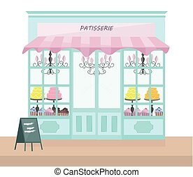 Bakery store architectural facade Vector illustration template