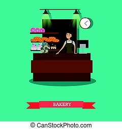 Bakery store concept vector illustration in flat style.
