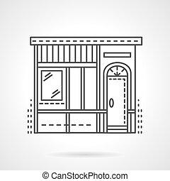 Bakery store facade flat line vector icon
