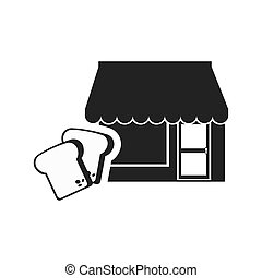 bakery store icon - store bakery commerce building with loaf...