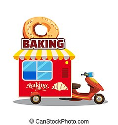 Bakery street food caravan trailer, truck, van with fresh bread, loaf, baguette, pretzel, croissant. Colorful illustration, cute, on white background. Cartoon style, vector, isolated