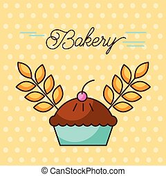 bakery sweet cake berry and wheat grain design