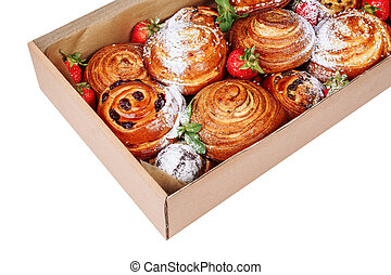 Bakery Sweet Pastry Carton Delivery Box Closeup