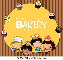 Bakery theme with children and cupcakes