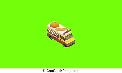 Bakery truck icon animation best object on green screen background