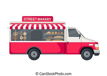 Bakery truck icon in flat style isolated on white background.