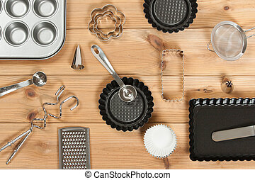 Bakery Utensils. Baking Kit. Kitchen Tools. Top View.