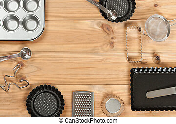 Bakery Utensils. Baking Kit. Kitchen Tools. Top View. Copy Space.