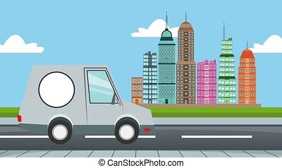 Bakery van delivery passing at city HD animation - Bakery...