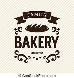 Vintage bakery label, vector illustration