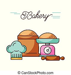 bakery weight scale and sack flour rolling pin and hat chef