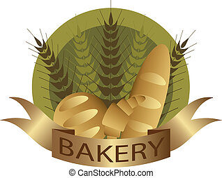 Bakery with Wheat Stalks French Bread Loaf and Croissant Pastry Label Illustration