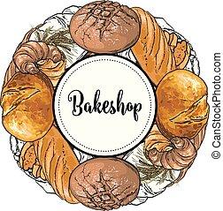 bakeshop, bannière, à, coloré, et, ligne, fraîchement, pain...