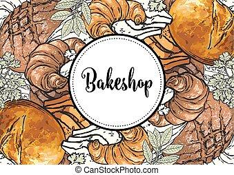 bakeshop, couverture, étiquette, signe, boulangerie,...