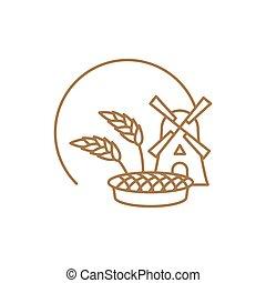 bakeshop, linéaire, pain, signe., wheat., emblem.,...