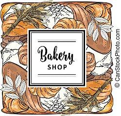 bakeshop, loafs, marque, vecteur, logo, pain
