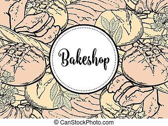 bakeshop, menu, illustration, vecteur, horizontal, bannière,...