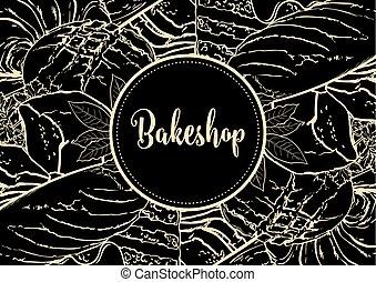bakeshop, menu, osłona, ilustracja, piekarnia, wektor, świeży, poziomy, chorągiew, albo, products.