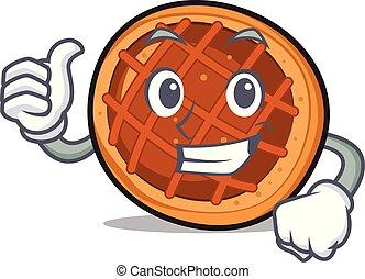 baket, caractère, tarte, haut, pouces, dessin animé