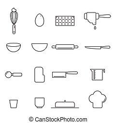 bakey, vecteur, ensemble, cuisine, icône