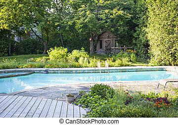 bakgård, simning, trädgård, slå samman