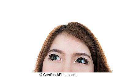 bakgrund, ögon, nära, isolerat, kvinnlig, se, vit, uppe
