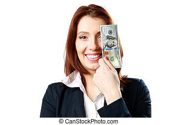 bakgrund, affärskvinna, dollars, isolerat, oss, holdingen, vit, lycklig