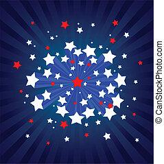 bakgrund, amerikan, starburst