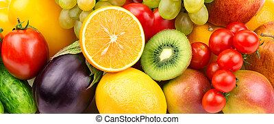 bakgrund, av, grönsaken, och, frukt