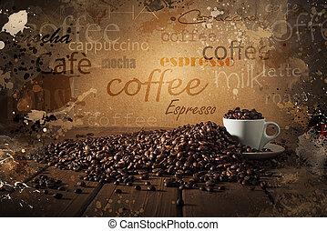 bakgrund, av, kaffe kopp