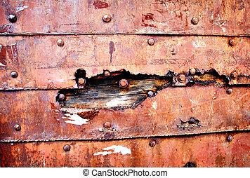 bakgrund, av, rostig, gammal, metallisk, vägg