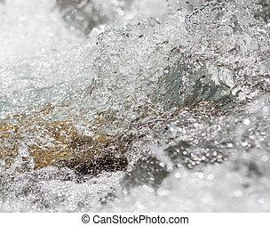 bakgrund, av, whitewater, på, den, flod