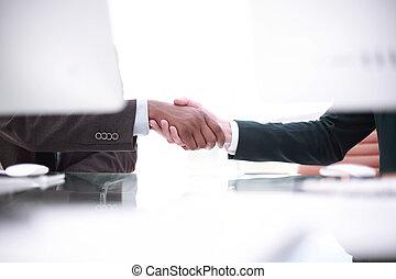 bakgrund, avbild, av, handslag, av, affärsverksamhet partner, ovanför, den, skrivbord