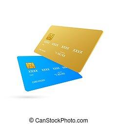 bakgrund., blå, vit, enkel, kort, mall, kreditera, illustration., vektor, guld