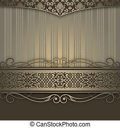 bakgrund, border., ornamental, dekorativ, årgång