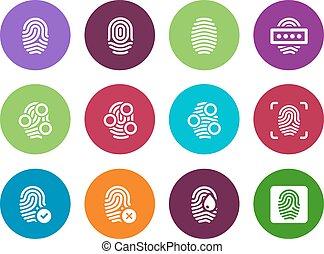 bakgrund., cirkel, fingeravtryck, vit, ikonen