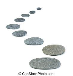 bakgrund, den, isolerat, pebbles., hav, vit, stones., rad