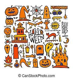 bakgrund, design, halloween, din