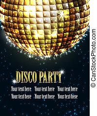 bakgrund, disko, parti