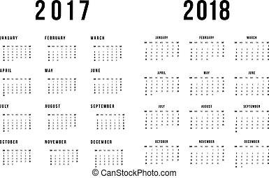bakgrund, enkel, 2018, kalender, vit, 2017