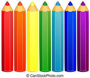 bakgrund, färgad, pencils.