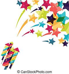 bakgrund, färgrik, firework., helgdag, glänsande, färgad