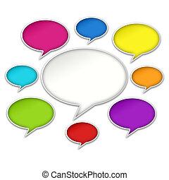 bakgrund, färgrik, konversation, pratstund, bubblar, vit
